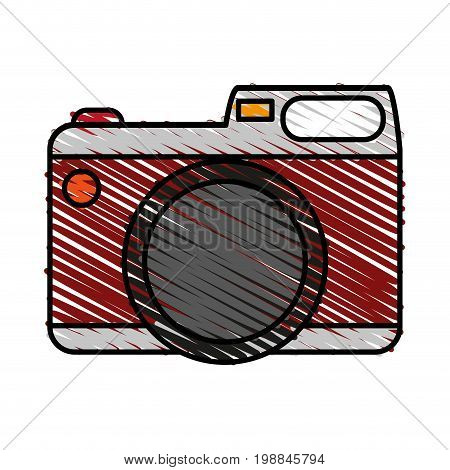 photographic camera icon image vector illustration scribble