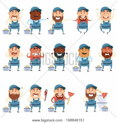 Vector image of the Set of flat plumber icons