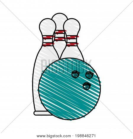 bowling pins and ball icon image vector illustration scribble