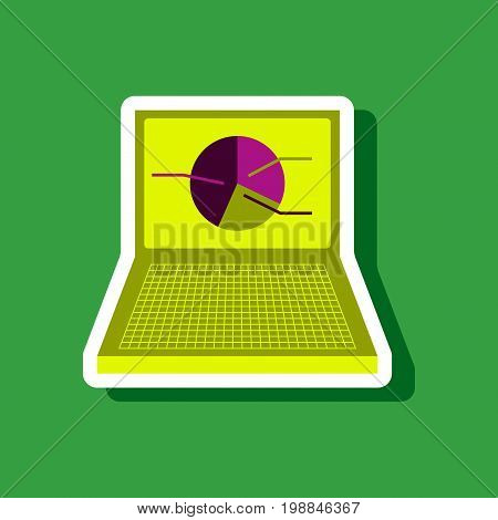 paper sticker on stylish background Laptop chart