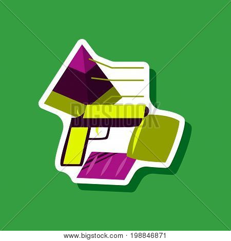 paper sticker on stylish background Economic pyramid