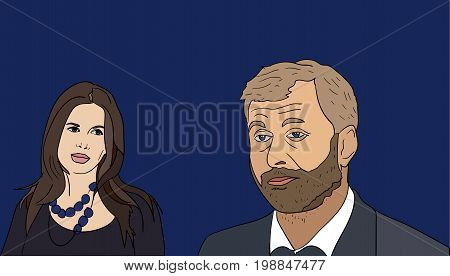 8 Aug, 2017: Russian billionaire and Chelsea FC owner Roman Abramovich and his wife Dasha Zhukova to split. Dasha Zhukova and Roman Abramovich vector portraits