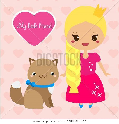 Cute princess with cat pet. Girl in long pink dress. Vector illustration in kawaii style for print design and kids fashion