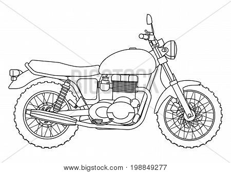 Hand draw style of vector new motorcycle illustration for coloring book