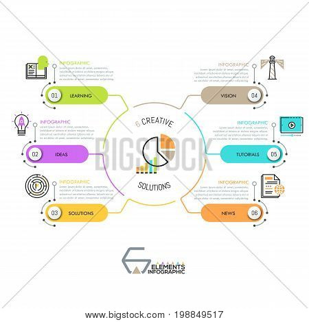 Modern diagram with 6 rounded rectangles connected with central circular element. Infographic design template. Options of website development concept. Vector illustration for presentation, report.
