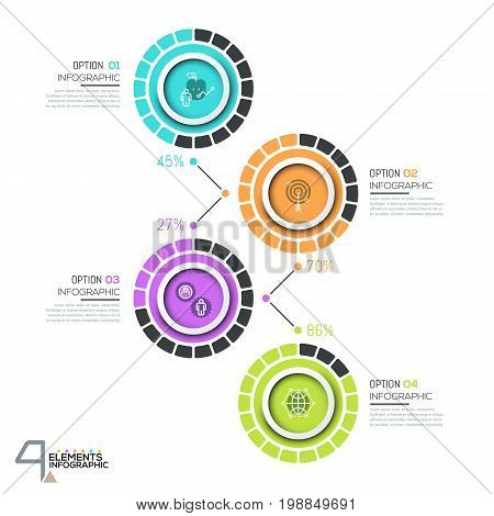 Infographic design template with 4 numbered circular elements with percentage indication, thin line icons and text boxes. Project fulfillment concept. Vector illustration for report, presentation.