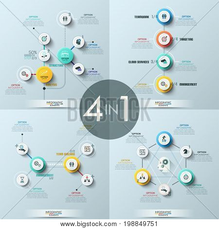 Collection of 4 modern infographic design templates. Four diagrams with circular elements connected by lines, pictograms and text boxes. Vector illustration for presentation, website, banner, report.
