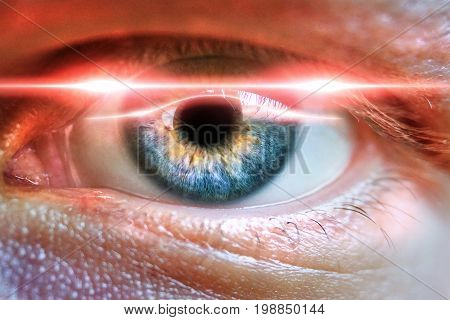 Male eye scanned for secure identifiation or concept for medicial iris correction