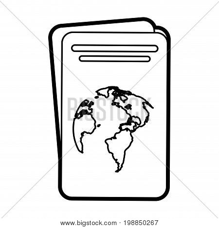 passport with planet on cover icon image vector illustration paint