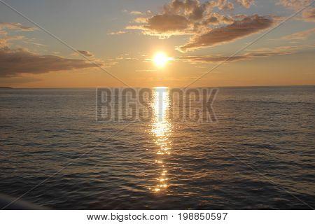 Sunset over Lake Superior.  Pictured Rocks National Lakeshore, Upper Peninsula of Michigan