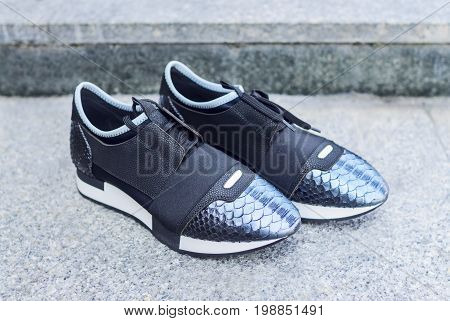 Close up of stylish female shoes. Outdoor fashion shoes footwear concept. sport shoes.