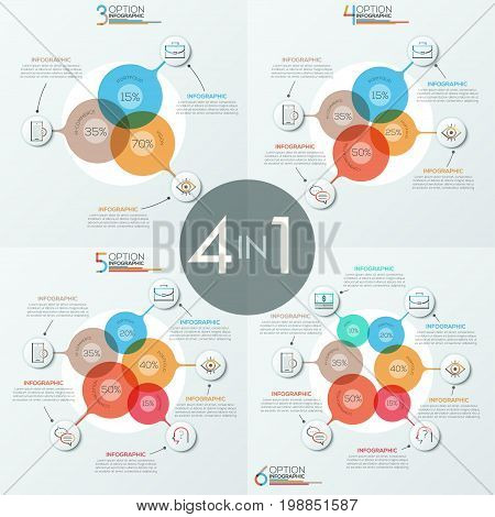 Bundle of 4 unusual infographic design layouts with 3, 4, 5, 6 overlapping translucent circular elements, icons and text boxes. Vector illustration for presentation, brochure, corporate website.