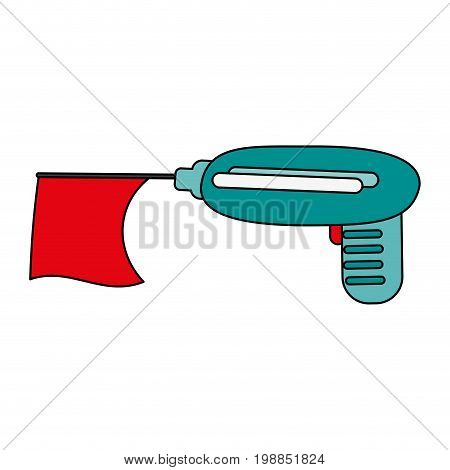 prank gun with flag toy icon image vector illustration design