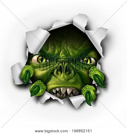 Monster tearing paper with sharp claws bursting out of ripped hole as a scary dangerous evil zombie or demon creature with a threatening expression as a halloween element with 3D illustration elements.
