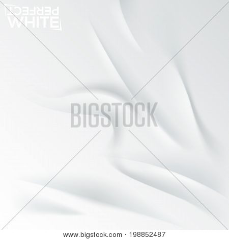 Creased white paper, crumpled sheet. Square background with ripple effect. Backdrop with textile waves and curves. Minimalistic decorative elements. Vector illustration for wallpaper, flyer, banner.