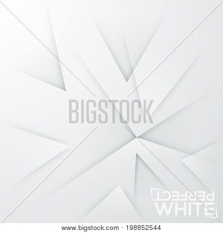 Square minimalistic background. White paper sheet with abstract sharpened elements pointed at same place. Backdrop with realistic texture. Vector illustration for wallpaper, flyer, banner, card.