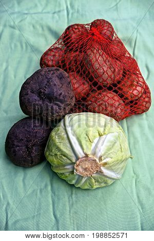 Cabbage beets and potatoes at the kitchen for cooking meals