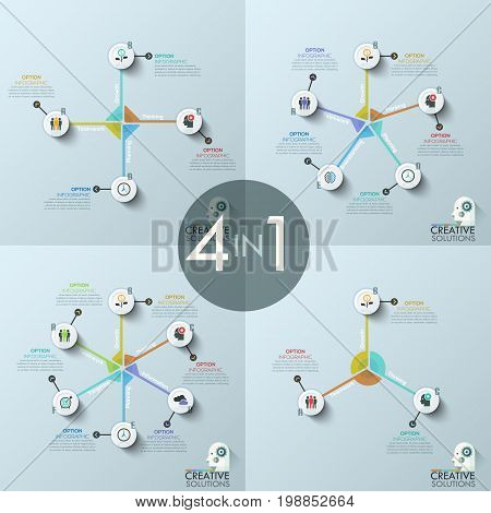 Set of four modern infographic design templates, circular diagrams with 3, 4, 5, 6 round elements, pictograms and text boxes. Features of strategic planning concept. Vector illustration for website.