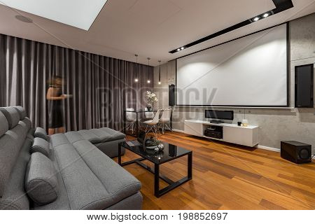 Living Room With Projector Screen