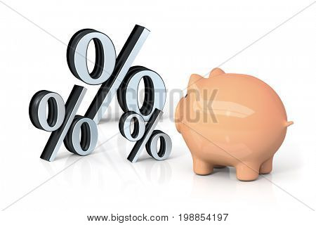 3d rendering of a piggy bank looking for percentage
