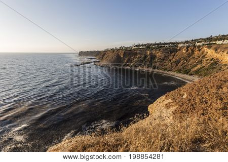 Late afternoon pacific ocean view at Rancho Palos Verdes in Los Angeles County, California.