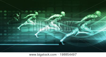 Athletic Training and Running Together in a Competition 3D Illustration Render