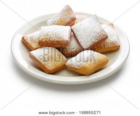 homemade new orleans beignet donuts isolated on white background