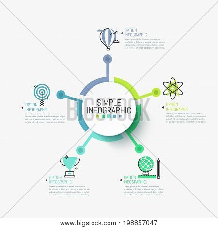 Minimalist infographic design layout. Round element in center connected with 5 symbols and text boxes. Five successful strategies to achieve scientific goals concept. Vector illustration for report.