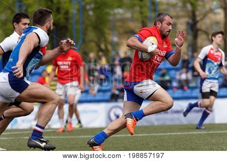 ST. PETERSBURG, RUSSIA - MAY 27, 2017: Match Mediterranee XV, France vs youth team of St. Petersburg during Rugby Europe Sevens Club Champion's Trophy. St. Petersburg hosts the trophy in 2nd time