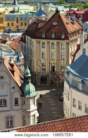 TALLINN, ESTONIA - JUNE 10, 2017: Aerial view to the building of hotel Barons in the Old Town. The building was erected in 1912 in Art Nouveau style as bank office, and hotel was opened in 2003