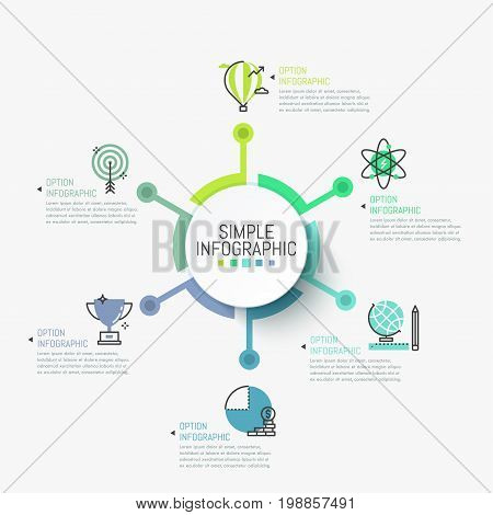 Simple infographic design template. Circular element in center connected with 6 pictograms and text boxes. Six steps to obtain financial advantage concept. Vector illustration for report, website.