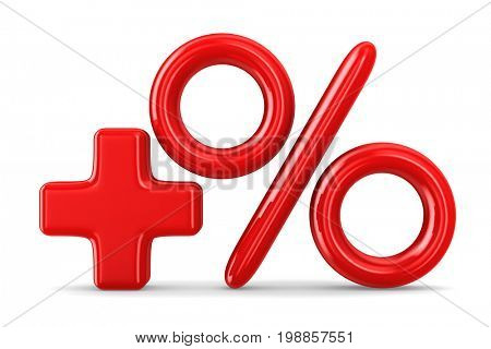 Increase percent on white background. Isolated 3D illustration