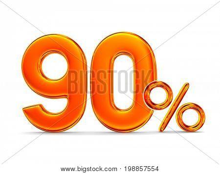 Ninety percent on white background. Isolated 3D illustration