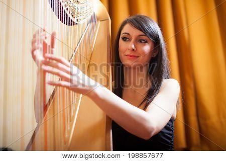 Woman playing an harp in a conservatory