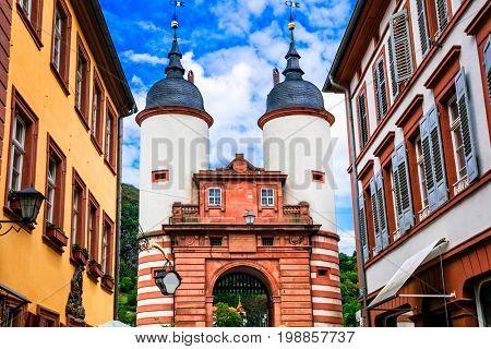 Beautiful towns of Germany - Heidelberg. Gates of Karl Theodor Bridge. Northen Bavaria