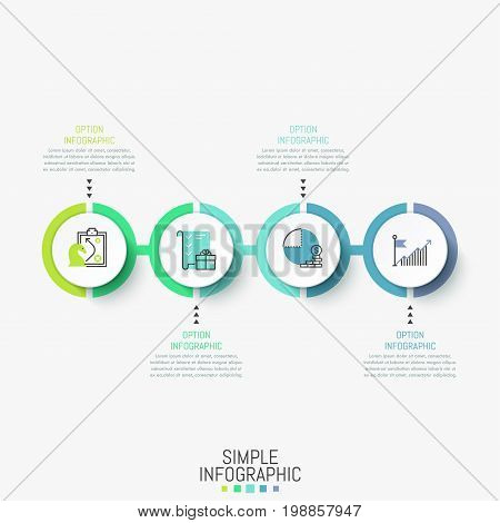 Infographic design layout. Horizontal diagram with 4 round elements successively connected by line, icons and text boxes. Four steps to obtain profit concept. Vector illustration for presentation.