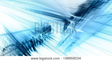 Abstract background element. Fractal graphics series. Three-dimensional composition of repeating grids and glitches. Blue and white colors.
