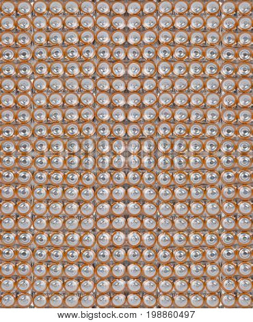 seamless background from large group of orange batteries