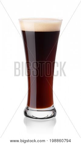 Glass of stout beer isolated on white