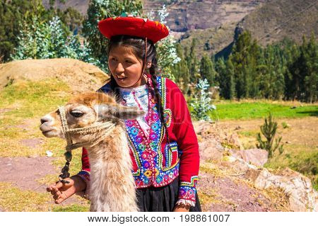 Native Peruvian girl with her lama animal in Sacred Valley, Cusco, Perl