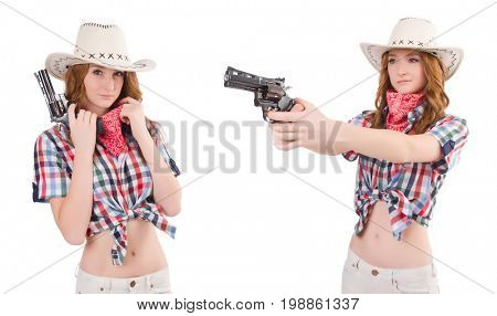 Redhead cowgirl with gun  isolated on white
