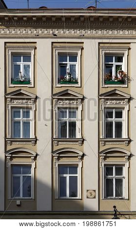 the decorated windows of reconstructed building