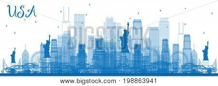 Outline USA Skyline with Blue Skyscrapers and Landmarks. Business Travel and Tourism Concept with Modern Architecture. Image for Presentation Banner Placard and Web Site.
