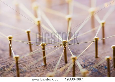 Linking entities. Network, social media, internet communication abstract. Hub or key person connected by communication network. Web of gold wires on rustic wood. Shallow DOF. Strong highlight.