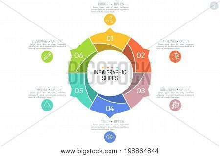 Minimal infographic design layout. Circular diagram divided into 6 colorful sectors with arrows pointing at text boxes and pictograms. Six features of successful startup concept. Vector illustration.
