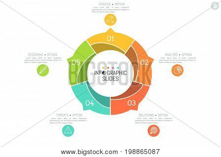 Simple infographic design template. Round chart divided into 5 multicolored sectors with arrows pointing at text boxes and thin line icons. Five steps of production cycle concept. Vector illustration.