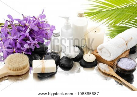 Spa bath Background with stones ,towel with spa set