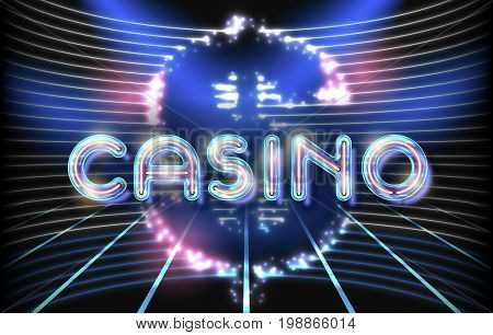 Jackpot casino neon lettering stage on background with glowing wall.