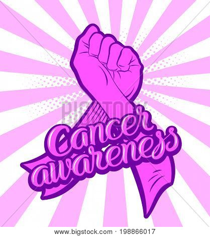 Hand fist fight symbol preventing the cancer and awareness symbol pink ribbon with lettering