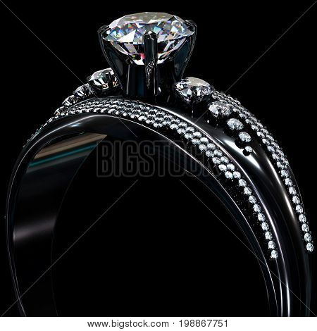 Black gold engagement ring with diamond gem. Luxury jewellery bijouterie with rhodium or ruthenium coating with gemstone. 3D rendering on black background.